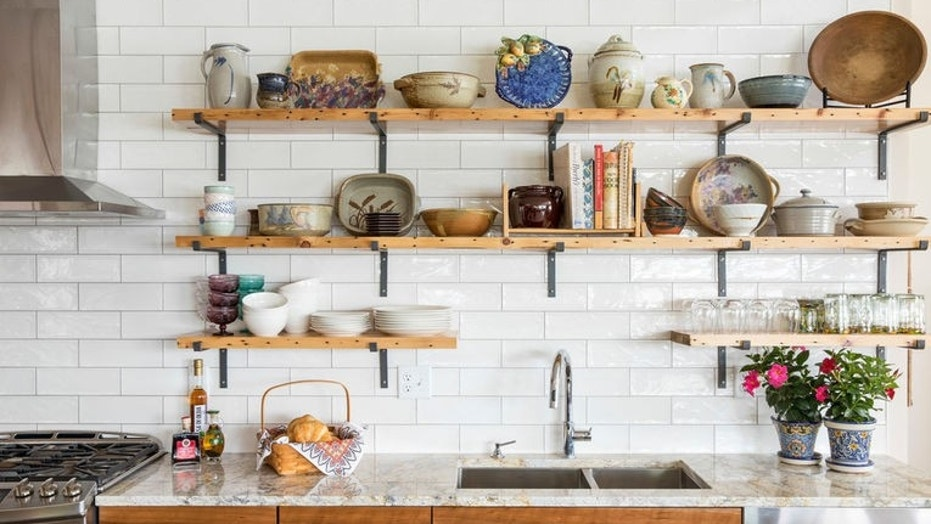 10 things to store on open kitchen shelves for efficiency and style rh foxnews com shelves for kitchen plates shelves for kitchen cupboards
