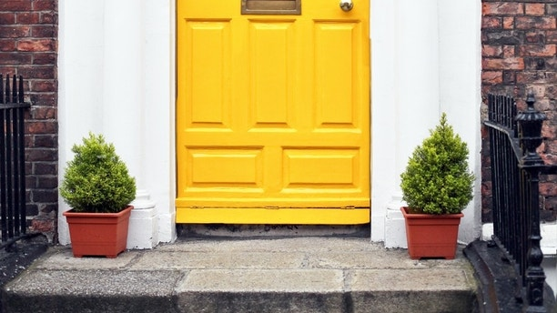 Residential Front Door Of A Georgian House In Dublin