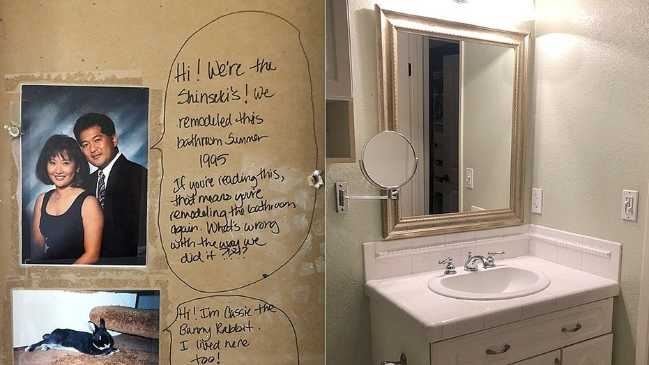 A couple in San Jose, California, (pictured) found a surprising message in their bathroom wall while remodeling.