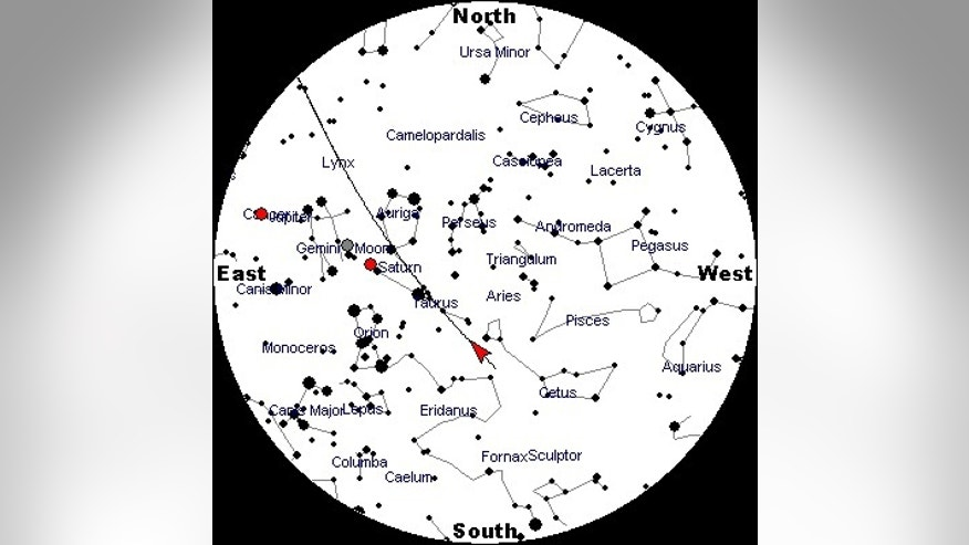 This sky chart shows the constellation Cetus, the whale.