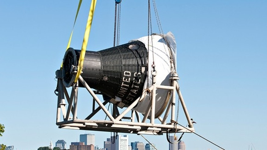 Freedom 7, NASA's first spacecraft to launch an astronaut into space, landed in Boston on Aug. 29, 2012 for display at the John F. Kennedy Presidential Library and Museum.