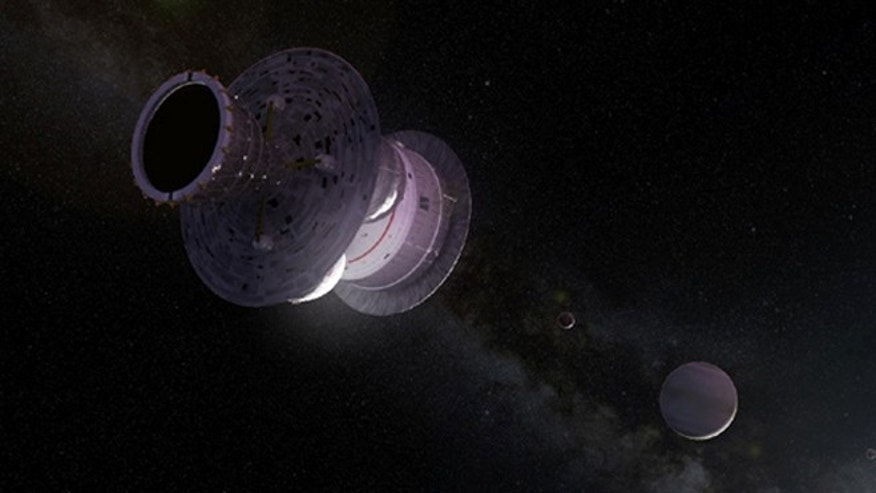 An artist's impression of the British Interplanetary Society's Daedalus unmanned starship entering another star system.