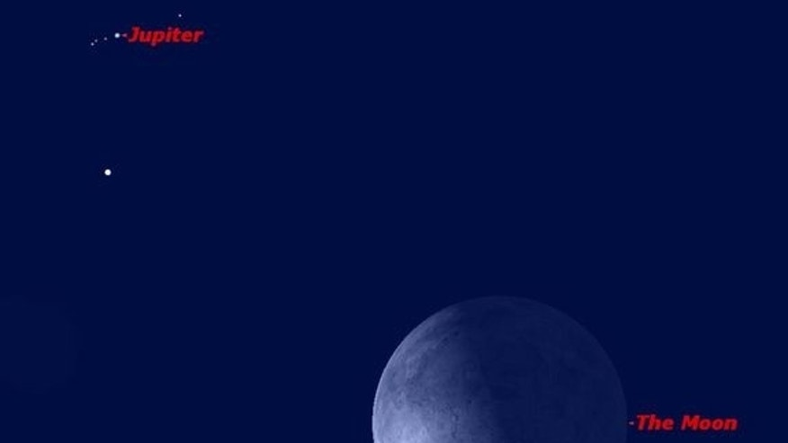 Jupiter and the moon in conjunction on the morning of Sept. 8, 2012.