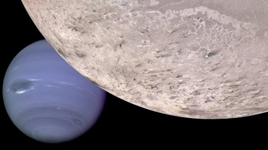 This computer generated montage shows Neptune as it would appear from a spacecraft approaching Triton, Neptune's largest moon.