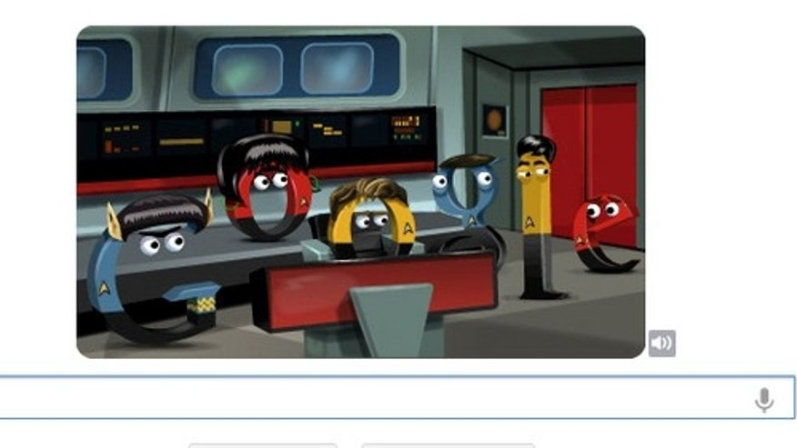 The Google logo was transformed on its search homepage Sept. 7, 2012 to honor the 45th anniversary of Star Trek.
