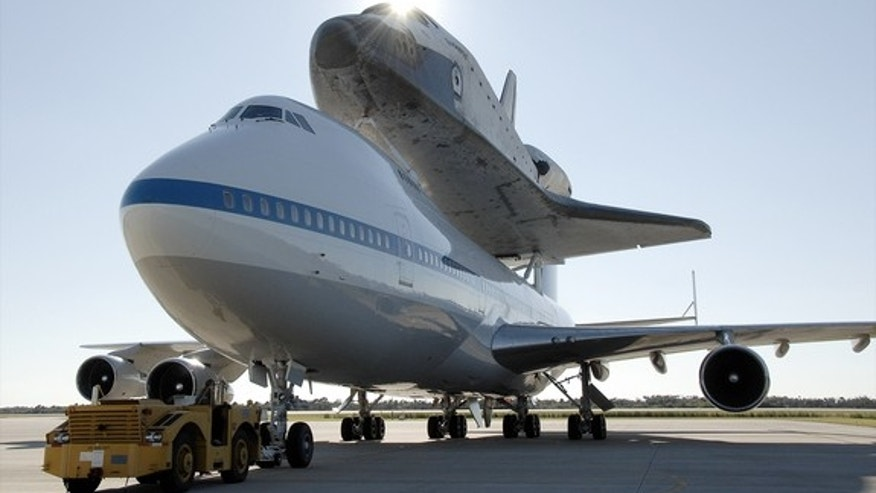 Space shuttle Endeavour, seen here in 2008 atop NASA's Boeing 747 carrier aircraft, will arrive in Los Angeles Sept. 20, 2012.