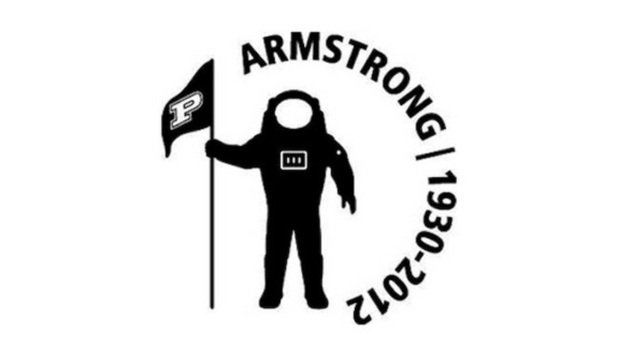 The design of a sticker being added to Purdue University football players' helmets in honor of astronaut Neil Armstrong, who died on Aug. 25.