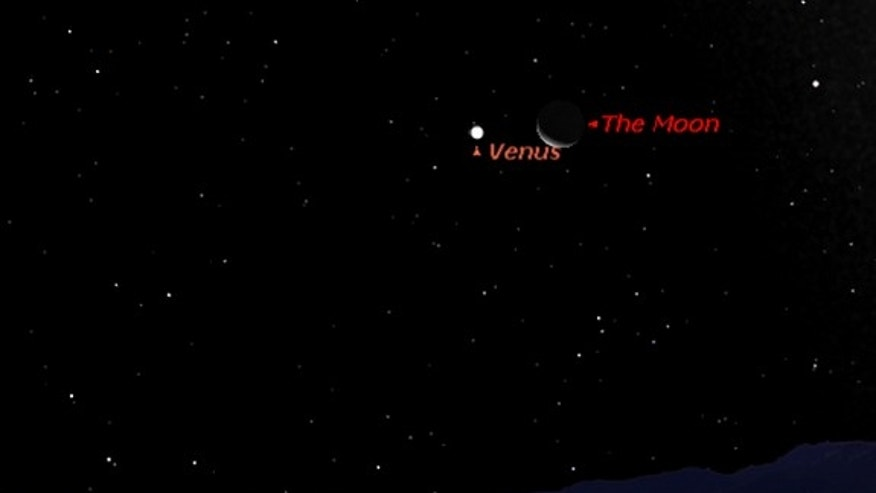 This sky map shows the location of Venus and Jupiter near each other on Sept. 12, 2012, in the predawn sky at 5 a.m. local time as viewed from mid-northern latitudes.