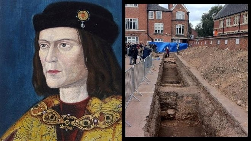 The trench where Leicester archaeologists found remains that may be those of Richard III, seen here in a portrait painted c. 1520.