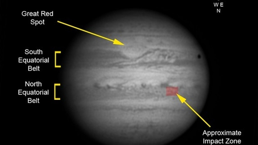 This graphic of Jupiter by UK astronomer Pete Lawrence shows the location of the Jupiter impact region from Sept. 12, 2012, as seen through an inverting astronomical telescope. The impact site is located at longitude system II 335, latitude +12
