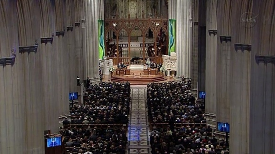 Hundreds attended the public memorial service for astronaut Neil Armstrong at Washington National Cathedral, Sept. 13, 2012.