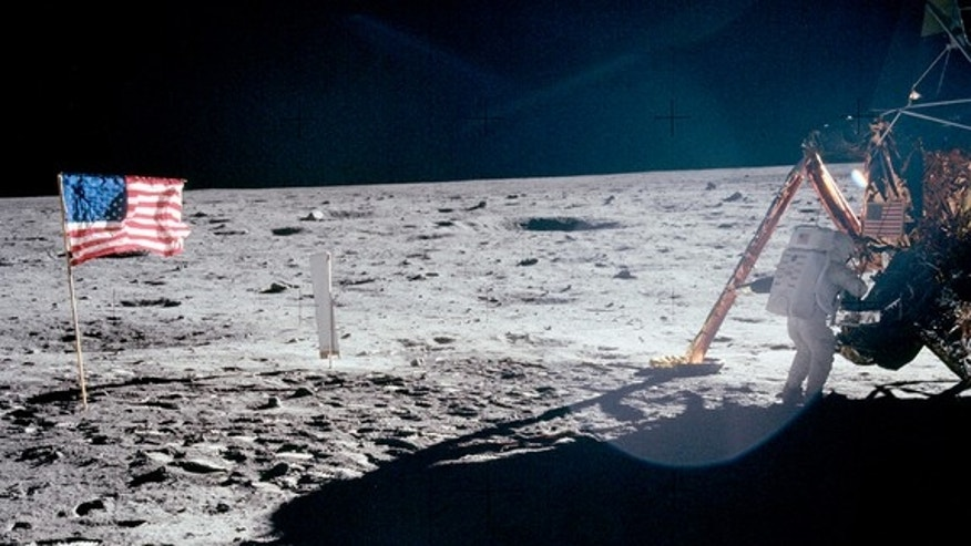 "The only full-body photograph of Neil Armstrong on the moon shows him working at the Apollo 11 lunar module ""Eagle"" on July 20, 1969. The first man to set foot on the lunar surface was inadvertently captured on film by Buzz Aldrin, who was task"