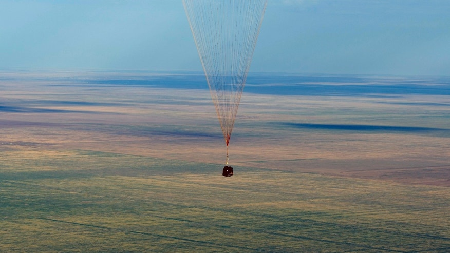Sept. 17, 2012: The Soyuz TMA-04M spacecraft lands with Expedition 32 Commander Gennady Padalka of Russia, NASA Flight Engineer Joe Acaba and Russian Flight Engineer Sergie Revin in a remote area near the town of Arkalyk, Kazakhstan.