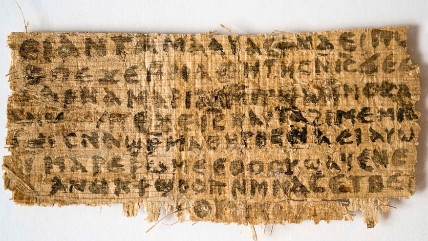 Sept. 5, 2012: Divinity professor Karen L. King says this fourth century fragment of papyrus is the only existing ancient text that quotes Jesus explicitly referring to having a wife.