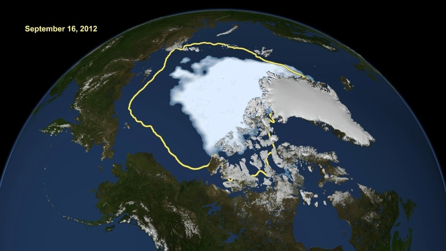 Sept. 16, 2012: The amount of summer sea ice in the Arctic today and the 1979 to 2000 average extent for the day shown, with the yellow line.