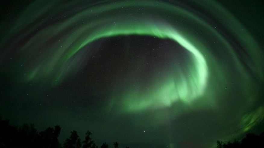 AuroraMAX observatory took this image of an auroral display over Yellowknife, Canada, on September 12, 2012.