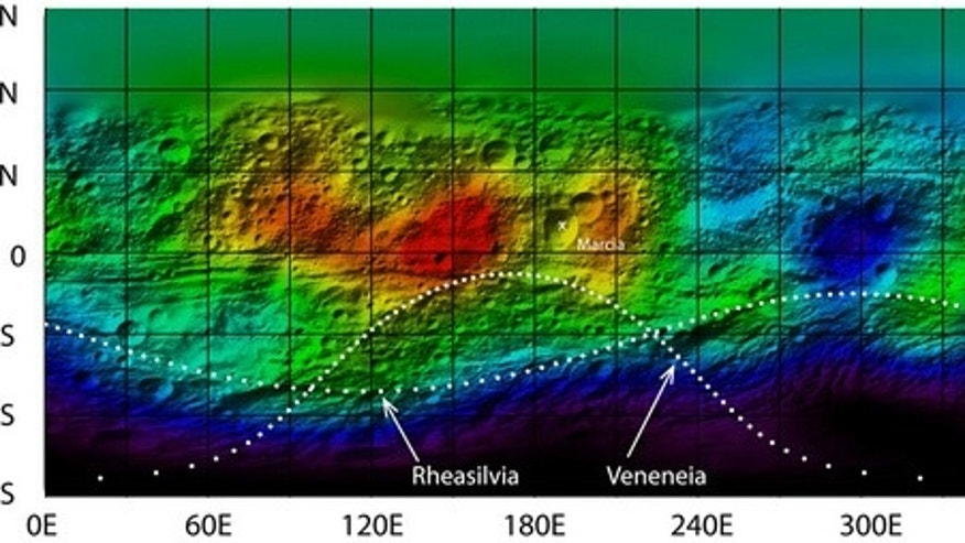 Data acquired by the gamma ray and neutron detector (GRaND) on board the NASA Dawn spacecraft have been analyzed to determine the distribution of hydrogen on the giant asteroid Vesta. Image released September 20, 2012.