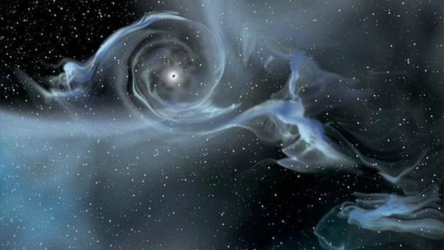 One contender for the smallest thing in the universe is the singularity at the center of a black hole. (Shown here, an artist's drawing of a black hole pulling gas away from a companion star.