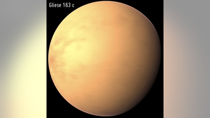 "Artist's rendition of the ""super Earth"" Gliese 163c, which may be capable of supporting microbial life."