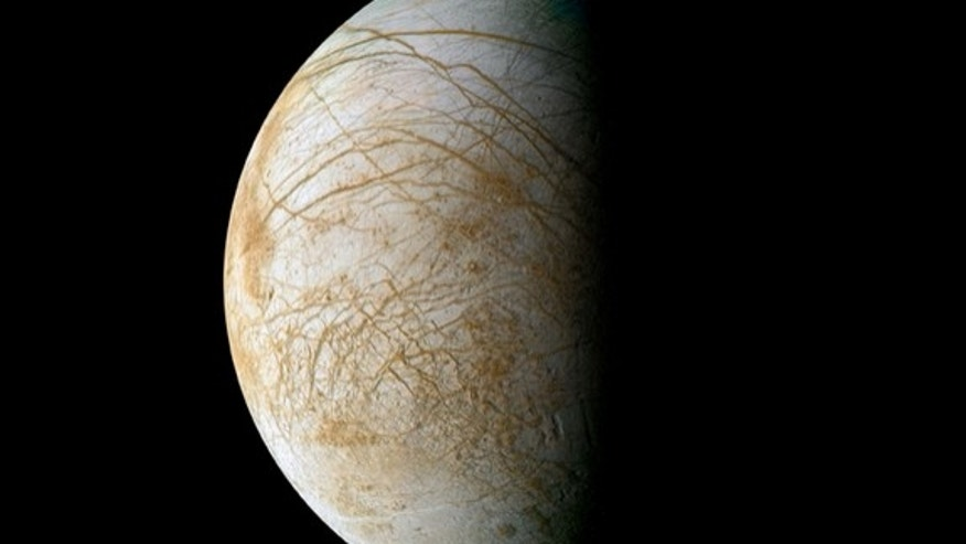Complex and beautiful patterns adorn the icy surface of Jupiter's moon Europa, as seen in this color image intended to approximate how the satellite might appear to the human eye. The data used to create this view were acquired by NASA's Galile