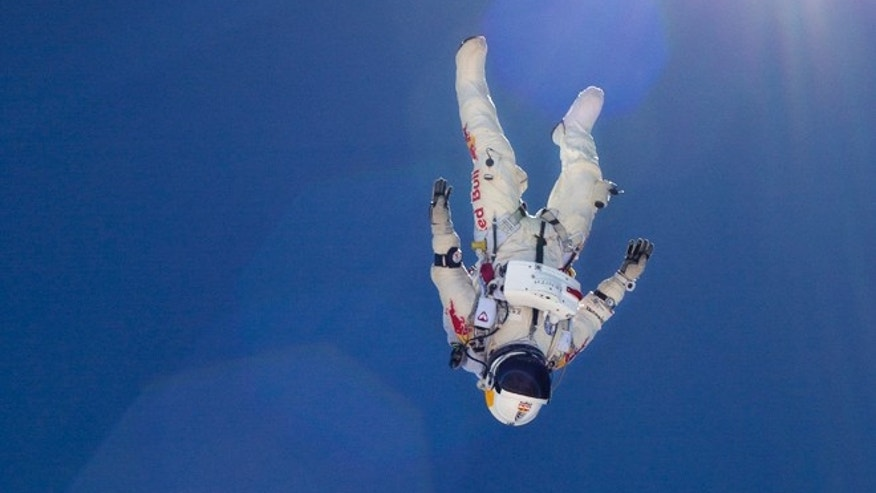 June 21, 2012: Felix Baumgartner during the first high-altitude test jump in Taft, Calif.