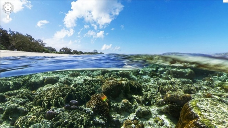Lady Elliot Island, Great Barrier Reef, as seen in the new 'underwater street view' feature on Google Maps.