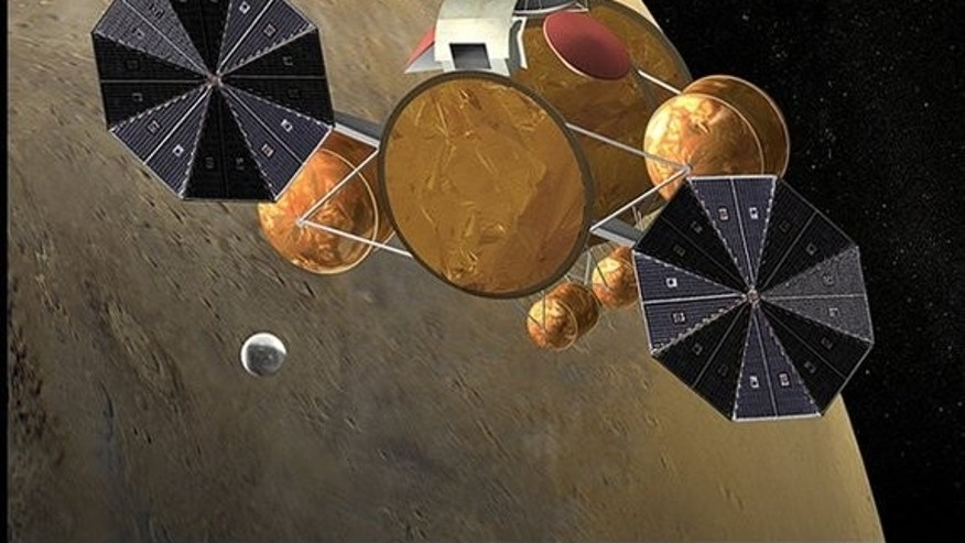 This artist's concept shows a rendezvous in Mars orbit between a small container holding Red Planet samples and a vehicle that will fly them back to Earth.