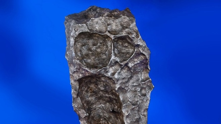 This undated photo provided by Heritage Auctions shows a naturally sculpted 179-pound iron meteorite that will be offered at a sale of more than 125 meteorites.