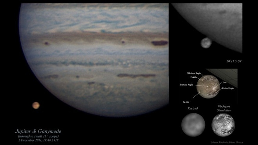 Amateur photographs of Jupiter and Ganymede, accompanied with a professionally obtained labeled map (bottom right).