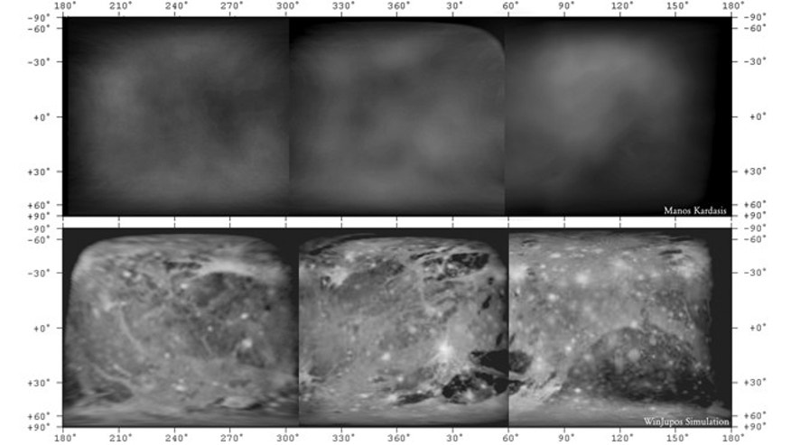 The original observations (top) and interpretations (bottom) of the first ever amateur albedo map of Ganymede.