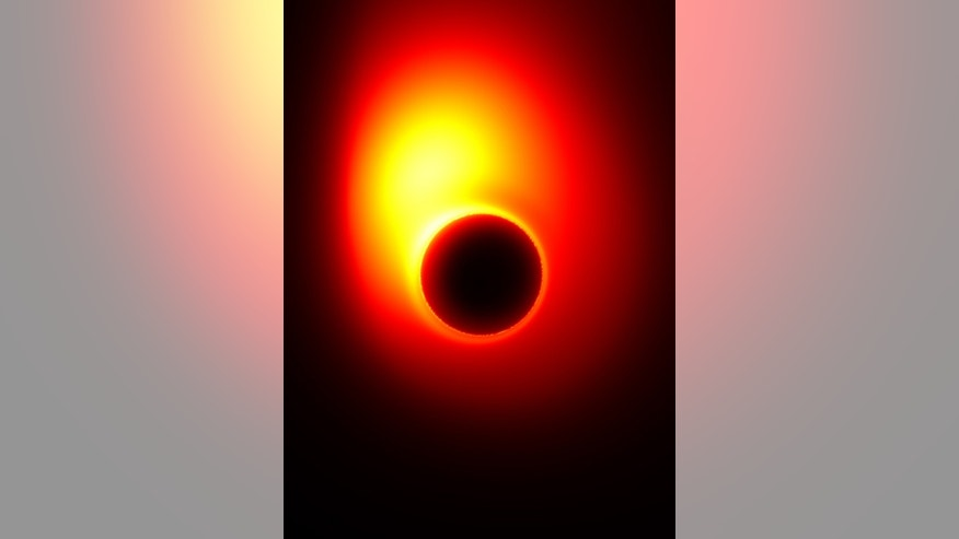 This image from a simulation shows an energy jet launched from a spinning black hole surrounded by a disk of accreting material. The black hole is spinning at half the maximum rate, and its mass is that of the black hole at the center of  the M