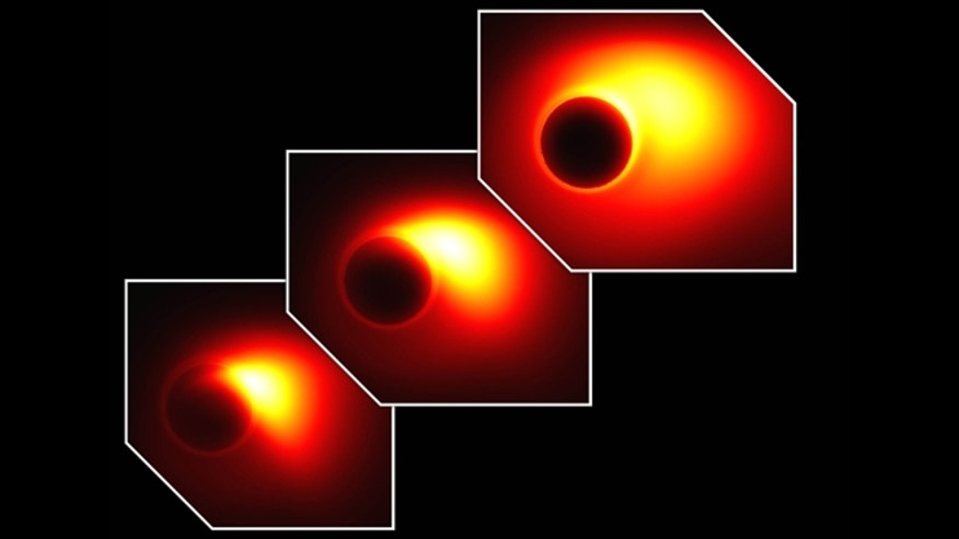 This views show the simulated event horizon-resolving images for the ultra-relativistic jet launched from the 7 billion solar-mass black hole at the center of the giant elliptical galaxy M87.
