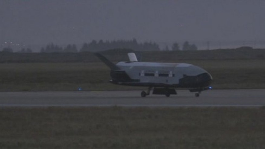 This still from a U.S. Air Force video shows the second X-37B unmanned space plane just after landing on June 16, 2012  at Vandenberg Air Force Base in California that ended a 469-day mission.