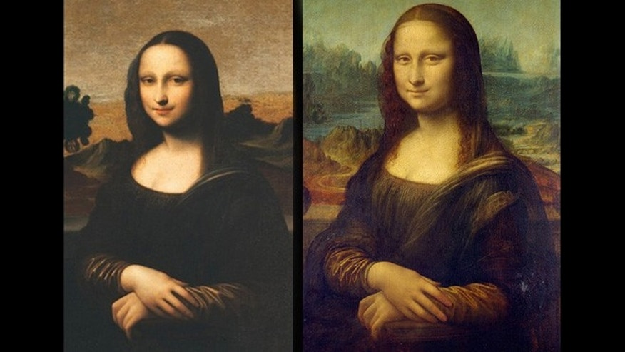 Cropped pictures of the Isleworth Mona Lisa (left) and the Louvre Mona Lisa (right).