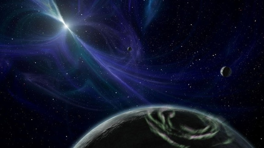 This artist's impression shows the planetary system around pulsar PSR B1257+12, one of two pulsars known to be host to at least one planet. Such planets around pulsars may have powerful electromagnetic wakes around them.