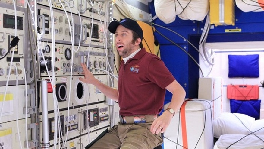 """Actor Simon Helberg, portraying Howard Wolowitz on CBS's """"The Big Bang Theory,"""" is seen """"floating"""" on the space station."""