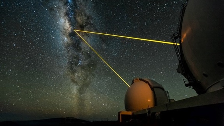 The two W. M. Keck Telescopes on Mauna Kea, Hawaii, observing the galactic center. The lasers are used to create an artificial star in Earth's upper atmosphere, which is then employed to measure the blurring effects of the lower atmosphere (the
