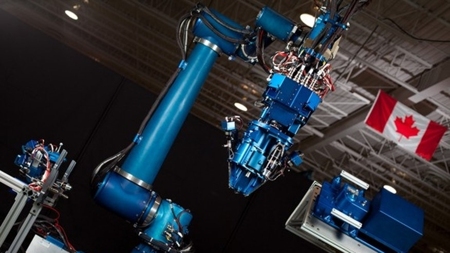 MacDonald, Dettwiler and Associates hopes to use this nine-foot Next-Generation Canadarm prototype to advance orbital refuelling.