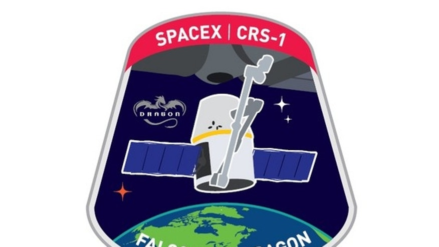 The official insignia for SpaceX's first NASA-contracted resupply mission to the International Space Station, CRS-1.