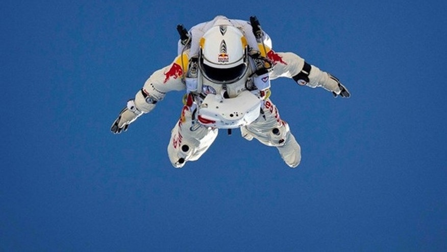 Pilot Felix Baumgartner performs freefall tests in Taft, California, USA on June 21, 2012.