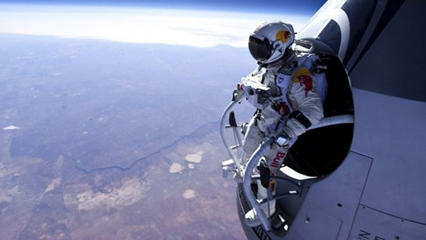 Pilot Felix Baumgartner of Austria before his jump at the first manned test flight for Red Bull Stratos in Roswell, New Mexico on March 15, 2012.