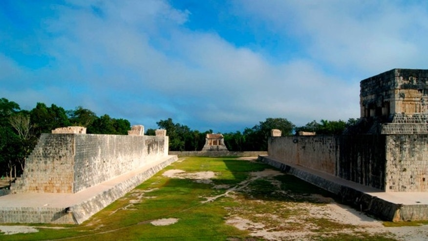 Oct. 5, 2012: A ceremonial ball court at the temples of Chichen Itza on the Yucatan Peninsula, Mexico.  Mexican archaeologists say they have determined that the ancient Mayas built watchtower-style structures atop the ceremonial ball court to observe the equinoxes and solstices, and they said that the discovery adds to understanding of the many layers of ritual significance that the ball game had for the culture.