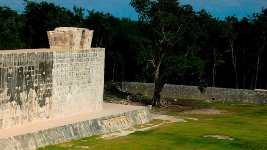 Oct. 5, 2012: A section of a ceremonial ball court at the temples of Chichen Itza on the Yucatan Peninsula, Mexico. Mexican archaeologists say they have determined that the ancient Mayas built watchtower-style structures atop the ceremonial ball court to observe the equinoxes and solstices, and they said that the discovery adds to understanding of the many layers of ritual significance that the ball game had for the culture.