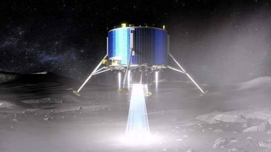 This artist's concept shows a proposed European Space Agency lunar lander touching down near the moon's south pole.