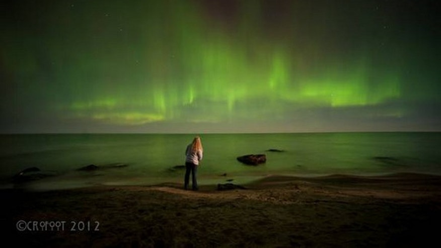 Astrophotographer Laurie Crofoot sent in a photo of herself with an aurora seen in Ontonagon County, Michigan, along the southern coast of Lake Superior. The photo was taken the night of September 30th.