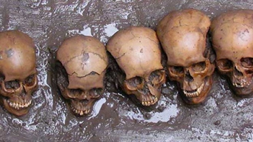 Five skulls recently discovered in Mexico City have holes on both sides, indicating they were hung on a rack.
