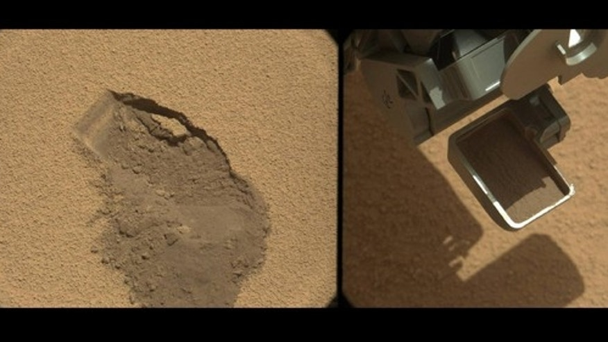 This pairing documents the first time that NASA's Mars rover Curiosity collected a scoop of Mars soil. It combines two raw images taken on Oct. 7, 2012, by the rover's Mast Camera.