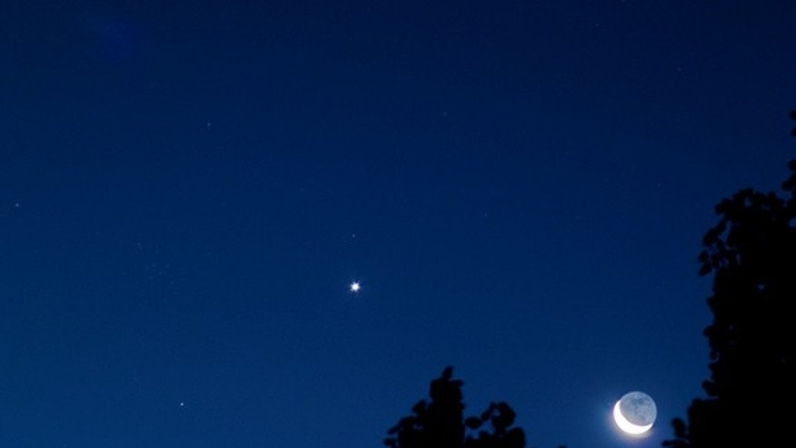 Astrophotographer Brett Schaerer took this photo of the moon, Venus, and M44 from Portland, OR, on September 12, 2012.