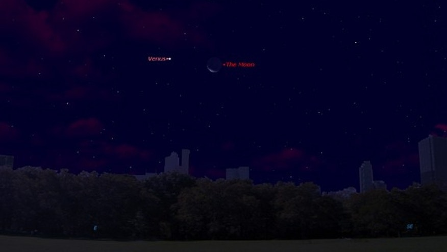 This sky map shows the location of Venus and the moon together on Friday, Oct. 12, before sunrise as it appears to observers in mid-latitudes.