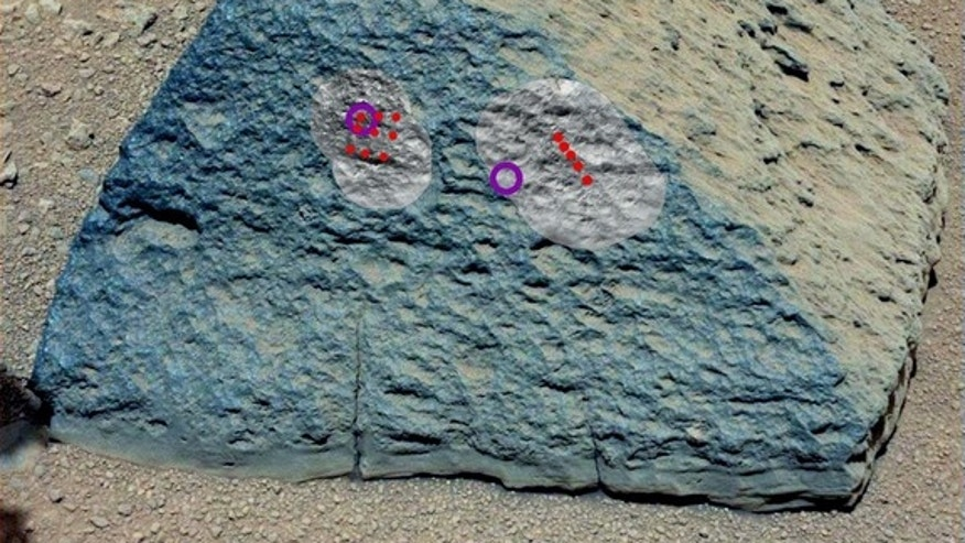"This image shows where NASA's Curiosity rover aimed two different instruments to study a rock known as ""Jake Matijevic"" in late September 2012. The red dots indicate where Curiosity fired its laser at the rock. The circular black and white imag"